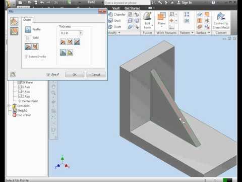 How to create a rib  AutoDesk Inventor Tutorials