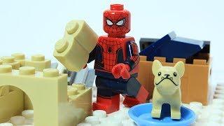 Lego Spiderman Brick Building Dog Shelter Stop Motion