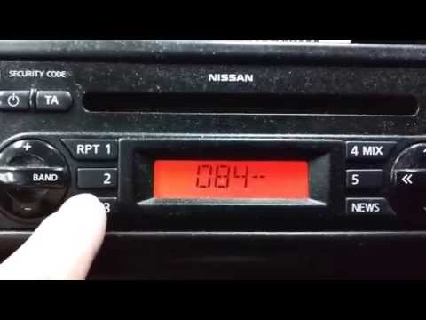Nissan Note Radio Code Entry