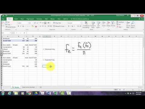 Chi Square Test for Independence in Excel 2016