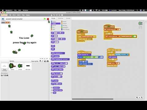 Scratch tutorials: how to make a shooter game part 2
