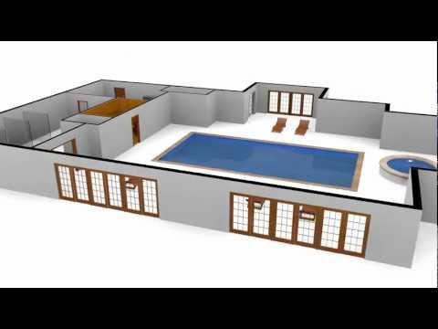 3D Swimming Pool Floor Plan with Motion Spline