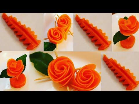 Attractive Carrot Rose Flower | Carrot Leaf Design |  Vegetable Carving Garnish | Food Decoration #2