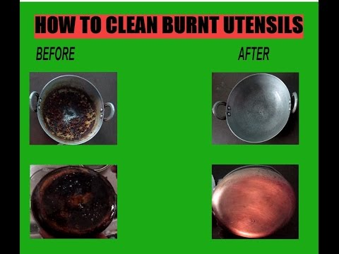How to clean burnt utensils with English subtitles
