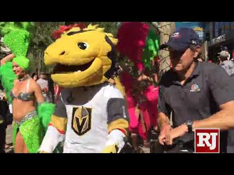 Chance the mascot and Vegas showgirls join the Golden Knights parade before Game 5