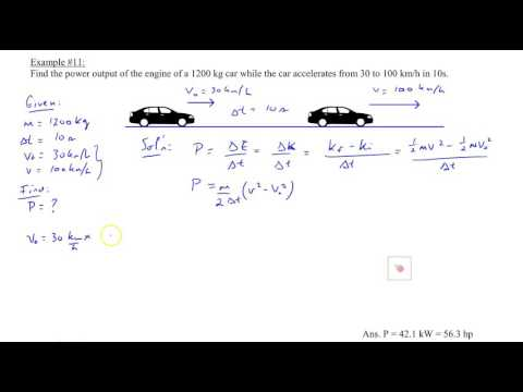 Chapter 6, Example #11, Average power of a car