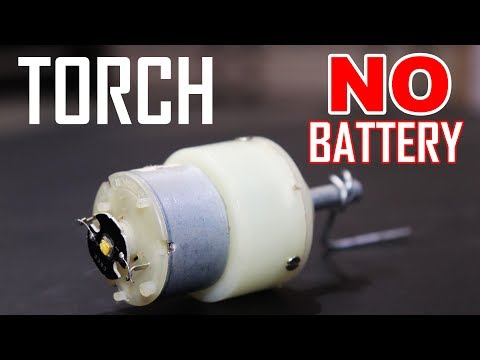 How To Make Torch without battery- hand powered electricity generator