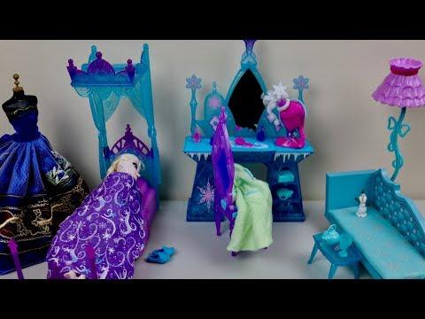 Barbie Dolls Bed and Wardrobe Playset Master Bedroom Disneey Frozen Bedroom Doll Evening Routine