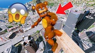 WITHERED FREDDY FALLS FROM THE TALLEST SKYSCRAPER! (GTA 5 Mods For Kids FNAF Funny Moment) RedHatter
