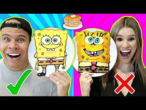 PANCAKE ART CHALLENGE!! Learn How To Make Spongebob Emoji DIY Pancake!