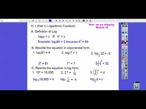 Logarithmic Functions - Module 15.1 (Part 1)