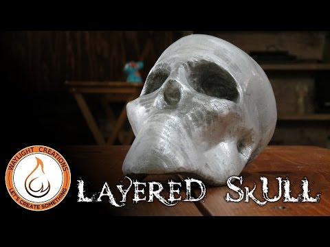 Layered MDF Skull -  3D Sculpture with 123D Make
