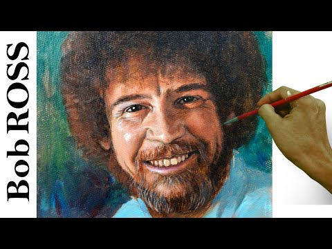 Acrylic Portrait Painting of Bob Ross in Step by Step Tutorial by JM Lisondra