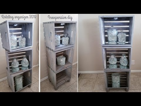 FARMHOUSE ROTATING ORGANIZER WITH LIGHT | BUDGET FRIENDLY DIY 2018