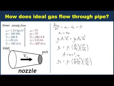 Example: Mass conservation for ideal gas flow through pipe