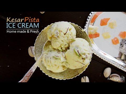 Ice Cream Recipe (no ice cream maker) / Homemade Kesar Pista Ice cream / Indian ice cream Recipes