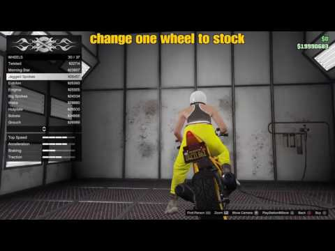 GTA 5 online Motorcycle tire design trick(only one tire has custom design)