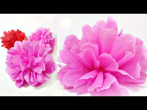 Tissue paper flowers peonies /DIY Paper Peony(rose) Flower Decorations tutorial easy for kids making