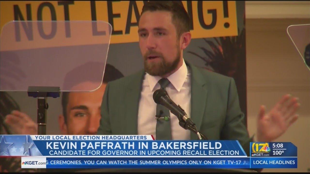 California gubernatorial candidate Kevin Paffrath speaks at Bakersfield campaign event