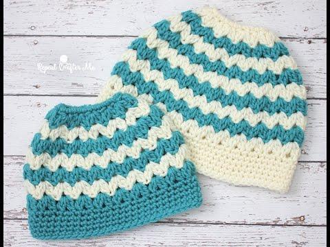 Crochet Mommy & Me Messy Bun Hat