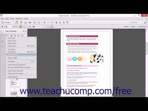 Changing the Page Number Display - Adobe Acrobat XI Training Tutorial Course