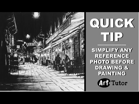 Artists: Quick tip to simplify your reference photo for a pen drawing