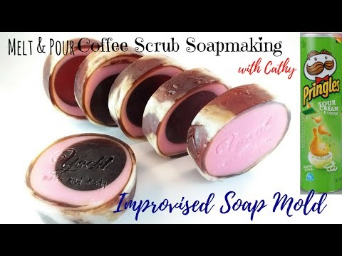 Rimmed coffee scrub soap making  using improvised soap mold DIY easy tutorial how to coffee soap 051