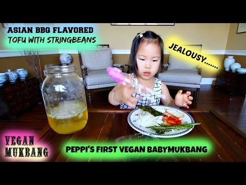 ASIAN BBQ TOFU & STRINGBEANS • Mukbang & Recipe