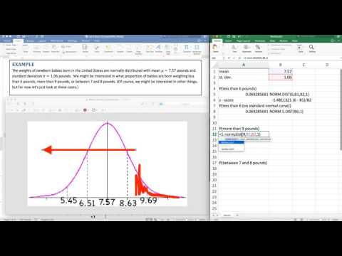 Normal Distribution on Excel Part 1