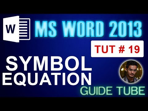 Word 2013 | Symbol | Equation - Tut 19 urdu/Hindi