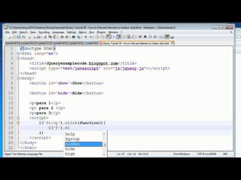 JQuery Tutorial 36 - how to hide and html element on button click