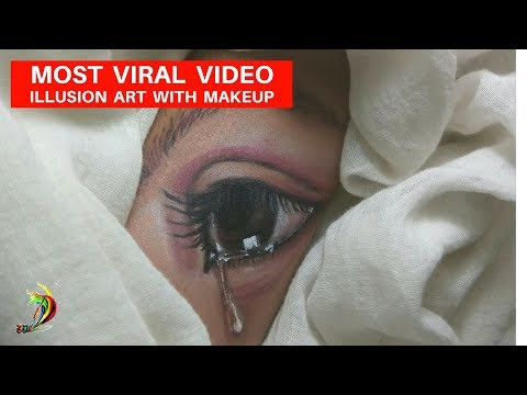 How to draw realistic eye on hand with make up kit | Viral video of eye drawing