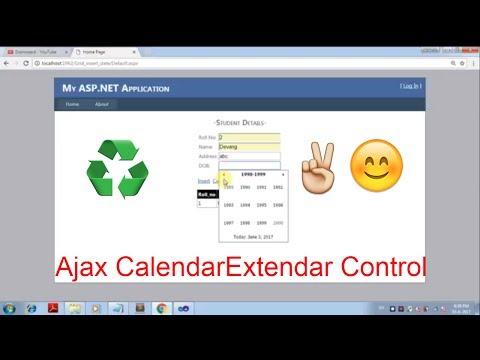 Ajax CalendarExtender Control for inserting Date in Database -Asp.Net