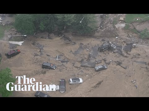 Drone footage shows extent of flood damage to Maryland city