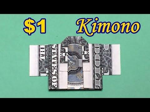How to Make Dollar Origami Kimono | Easy Money Folding Tutorial out of $1 Bill | Money Craft