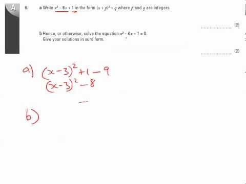 11y Ma2   Simultaneous and Quadratics Equations   Q6