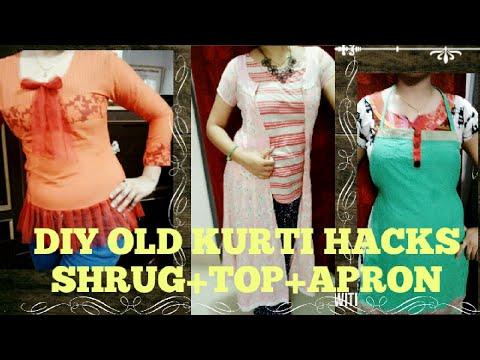 Best out of waste DIY OLD KURTI HACKS transformed into SHRUG+TOP+APRON