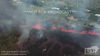 5-5-2018 Leilani Estates, Mt Kilauea volcano erupts, lava flows shot from drone 4k