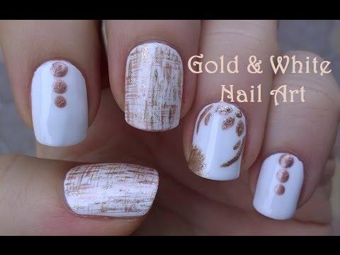GOLD & WHITE NAIL ART / Dry Brush & FLORAL Nails Design