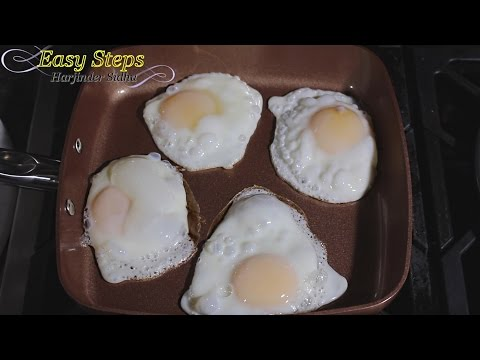 Half Fry Eggs Without Any Oil, Butter or Grease Cooked in Copper Chef Pan