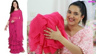 Amazon Ruffle Saree Review 909 rs   Festive Unboxing Day 2   Perkymegs Hindi