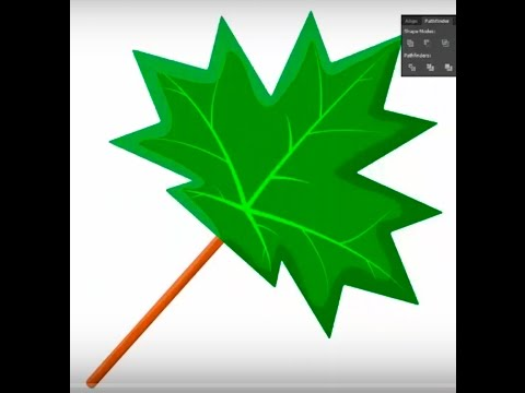 Green maple leaf - Adobe Illustrator cs6 tutorial. Quick and easy way how to draw green maple leaf
