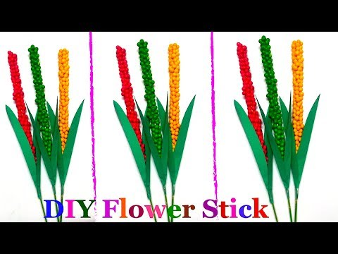 How to Make Flower From Thermacol Ball/Lavender Flower Stick | easy flower making ideas