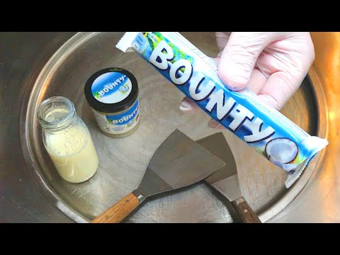 BOUNTY Ice Cream Rolls | how to make Bounty Ice Cream with Cocos Spread and Chocolate recipe / ASMR