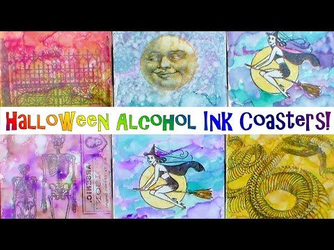 DIY Halloween Coasters with Alcohol Ink!