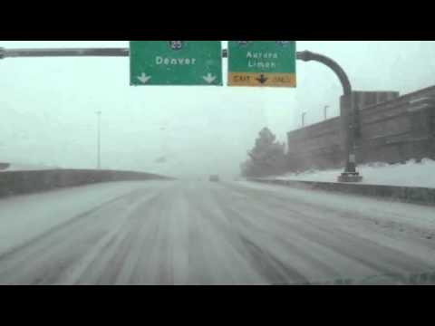 Driving on the snow in Denver, Colorado