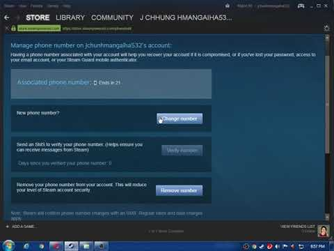 how to change steam phone number