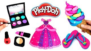 Play Doh Things to Make with Modelling Clay Compilation Play Doh Makeup Dress Flip Flops Ice Cream