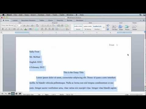 MLA formatting - Microsoft Word 2011 (Mac OS X)