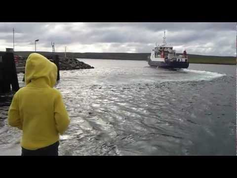 Shetland Islands Council Ferry  - MV BIGGA  - Leaving Belmont, Unst Heading to Gutcher, Yell